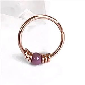 Rose gold beaded nose ring cartilage earring